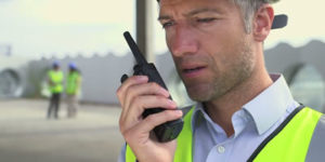 Person on two way radio talk